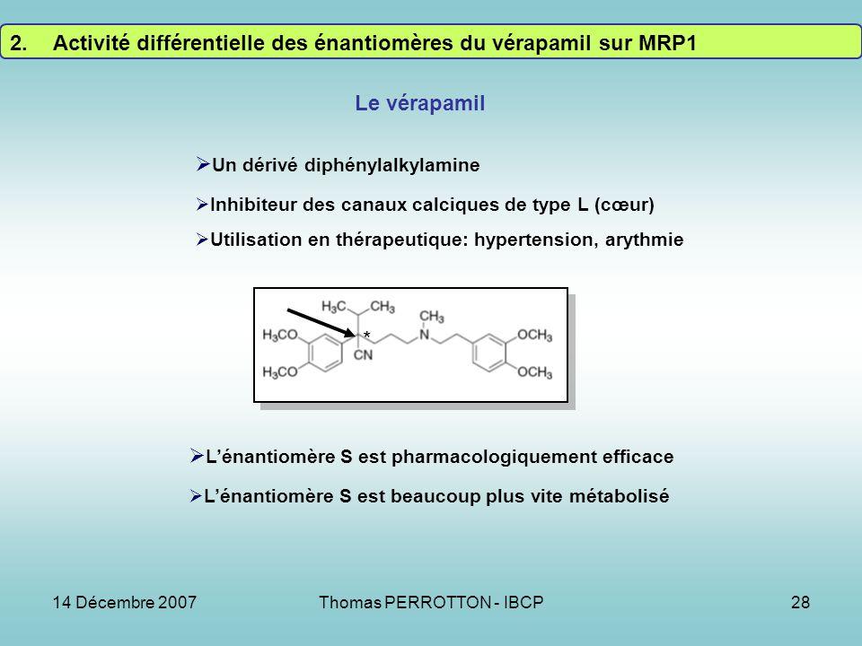 14 Décembre 2007Thomas PERROTTON - IBCP28 * Un dérivé diphénylalkylamine Inhibiteur des canaux calciques de type L (cœur) Utilisation en thérapeutique: hypertension, arythmie Lénantiomère S est pharmacologiquement efficace Lénantiomère S est beaucoup plus vite métabolisé Le vérapamil 2.Activité différentielle des énantiomères du vérapamil sur MRP1