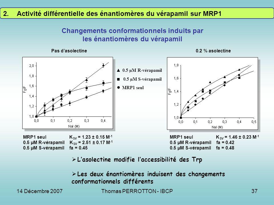 14 Décembre 2007Thomas PERROTTON - IBCP37 MRP1 seul 0.5 µM R-vérapamil 0.5 µM S-vérapamil Pas dasolectine0.2 % asolectine Changements conformationnels induits par les énantiomères du vérapamil Lasolectine modifie laccessibilité des Trp Les deux énantiomères induisent des changements conformationnels différents MRP1 seul K SV = 1.23 ± 0.15 M -1 0.5 µM R-vérapamil K SV = 2.51 ± 0.17 M -1 0.5 µM S-vérapamil fa = 0.45 MRP1 seul K SV = 1.46 ± 0.23 M -1 0.5 µM R-vérapamil fa = 0.42 0.5 µM S-vérapamil fa = 0.48 2.Activité différentielle des énantiomères du vérapamil sur MRP1