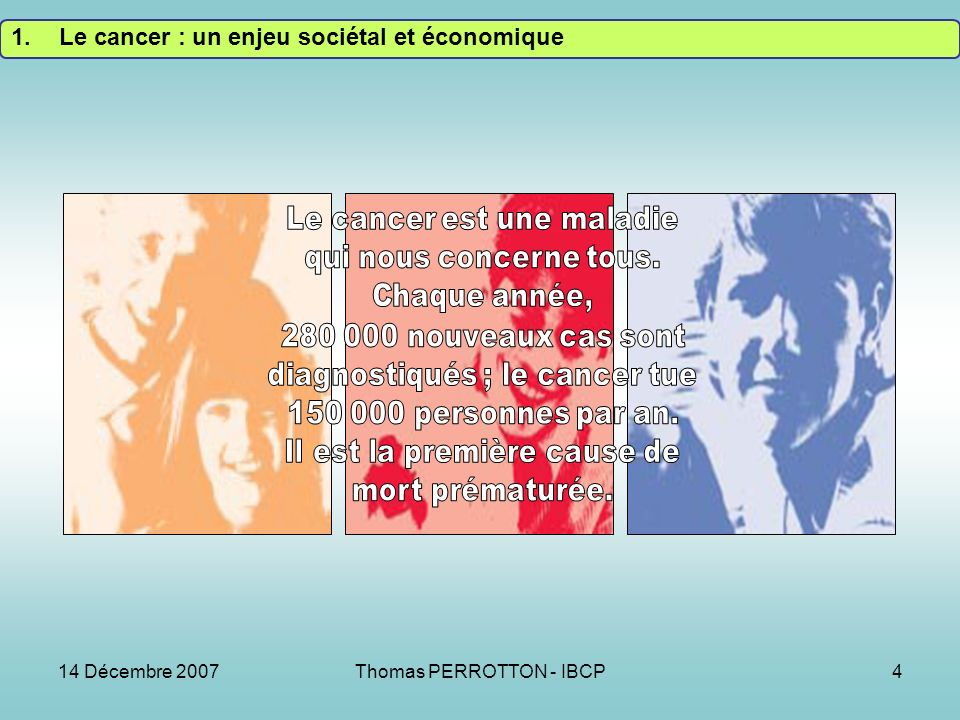 14 Décembre 2007Thomas PERROTTON - IBCP4 1.Le cancer : un enjeu sociétal et économique