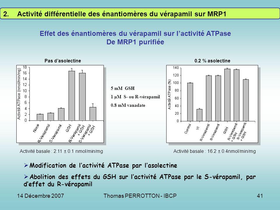 14 Décembre 2007Thomas PERROTTON - IBCP41 Effet des énantiomères du vérapamil sur lactivité ATPase De MRP1 purifiée 0.2 % asolectinePas dasolectine 5 mM GSH 1 µM S- ou R-vérapamil 0.8 mM vanadate Modification de lactivité ATPase par lasolectine Abolition des effets du GSH sur lactivité ATPase par le S-vérapamil, par deffet du R-vérapamil Activité basale : 2.11 ± 0.1 nmol/min/mgActivité basale : 16.2 ± 0.4nmol/min/mg 2.Activité différentielle des énantiomères du vérapamil sur MRP1