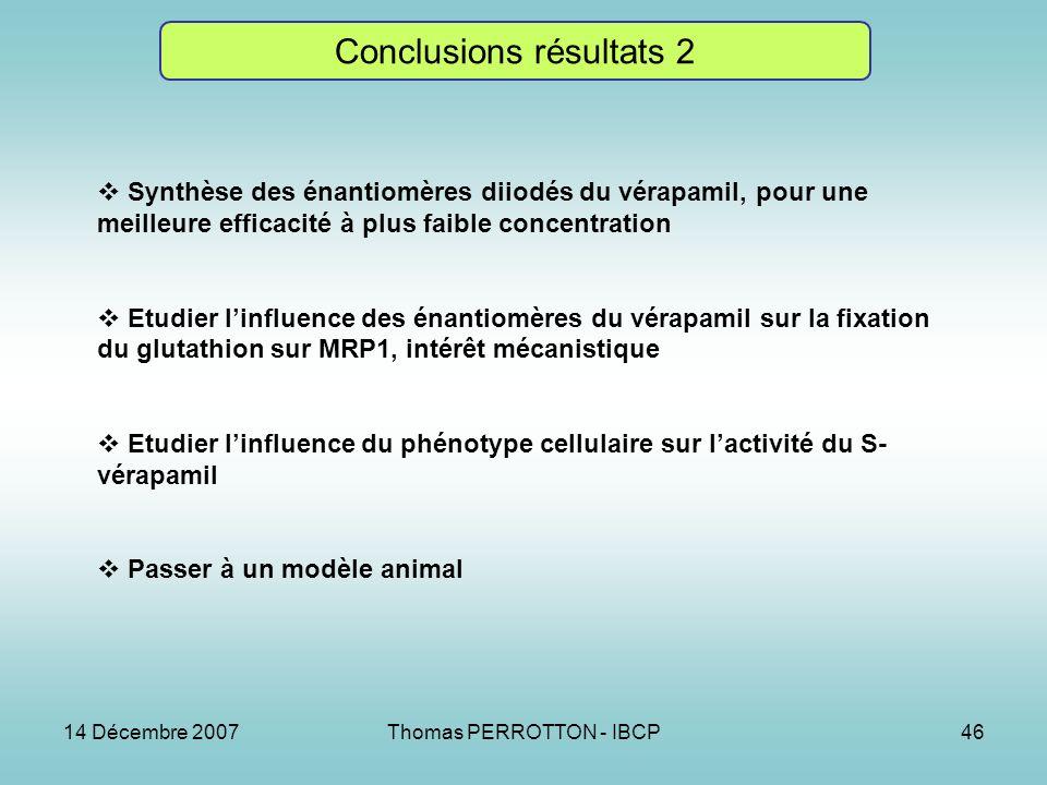 14 Décembre 2007Thomas PERROTTON - IBCP46 Conclusions résultats 2 Synthèse des énantiomères diiodés du vérapamil, pour une meilleure efficacité à plus faible concentration Etudier linfluence des énantiomères du vérapamil sur la fixation du glutathion sur MRP1, intérêt mécanistique Etudier linfluence du phénotype cellulaire sur lactivité du S- vérapamil Passer à un modèle animal