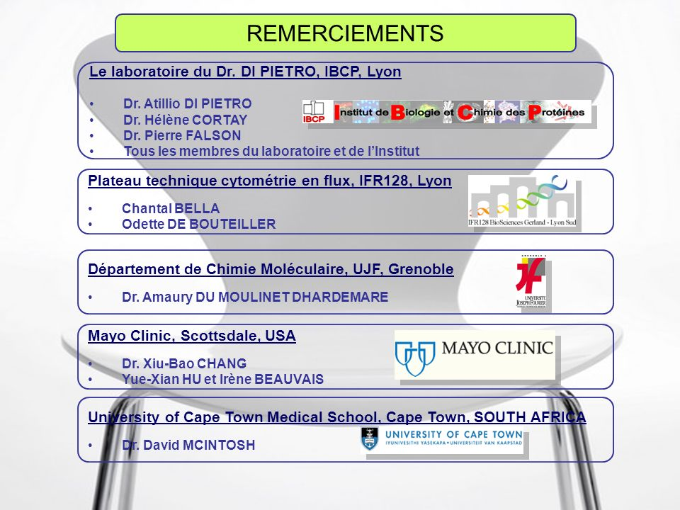 14 Décembre 2007Thomas PERROTTON - IBCP56 REMERCIEMENTS Le laboratoire du Dr.