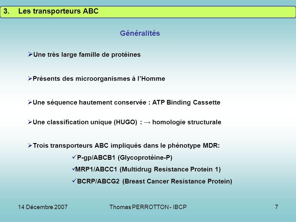 14 Décembre 2007Thomas PERROTTON - IBCP7 3.Les transporteurs ABC Généralités Une très large famille de protéines Présents des microorganismes à lHomme Une séquence hautement conservée : ATP Binding Cassette Une classification unique (HUGO) : homologie structurale Trois transporteurs ABC impliqués dans le phénotype MDR: P-gp/ABCB1 (Glycoprotéine-P) MRP1/ABCC1 (Multidrug Resistance Protein 1) BCRP/ABCG2 (Breast Cancer Resistance Protein)