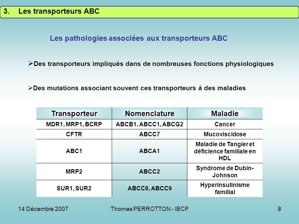 14 Décembre 2007Thomas PERROTTON - IBCP8 TransporteurNomenclatureMaladie MDR1, MRP1, BCRPABCB1, ABCC1, ABCG2Cancer CFTRABCC7Mucoviscidose ABC1ABCA1 Maladie de Tangier et déficience familiale en HDL MRP2ABCC2 Syndrome de Dubin- Johnson SUR1, SUR2ABCC8, ABCC9 Hyperinsulinisme familial Les pathologies associées aux transporteurs ABC Des transporteurs impliqués dans de nombreuses fonctions physiologiques Des mutations associant souvent ces transporteurs à des maladies 3.Les transporteurs ABC