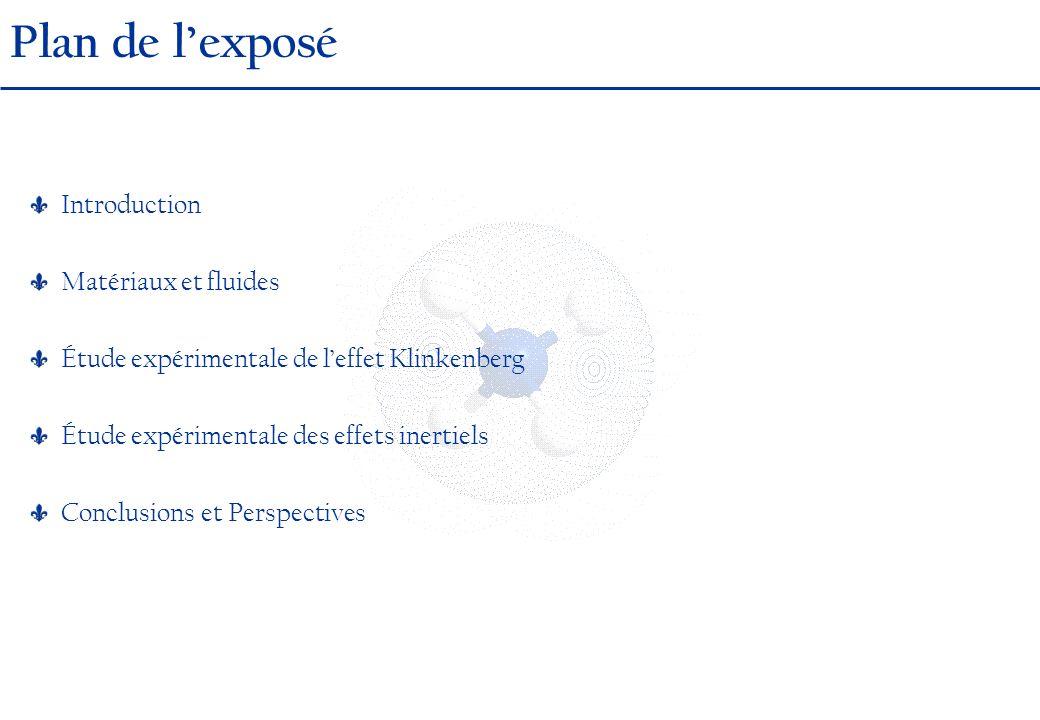 Plan de lexposé Introduction Matériaux et fluides Étude expérimentale de leffet Klinkenberg Étude expérimentale des effets inertiels Conclusions et Perspectives