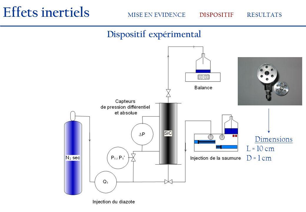Dispositif expérimental Dimensions L = 10 cm D = 1 cm Effets inertiels MISE EN EVIDENCEDISPOSITIFRESULTATS