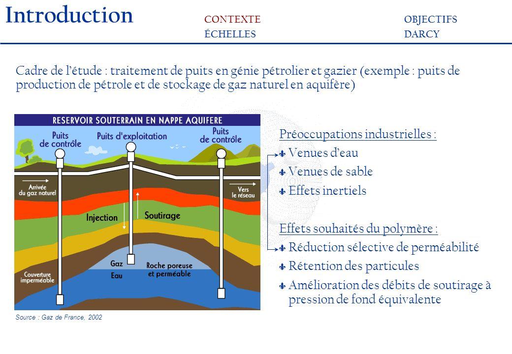 Introduction CONTEXTEOBJECTIFS ÉCHELLESDARCY Cadre de létude : traitement de puits en génie pétrolier et gazier (exemple : puits de production de pétrole et de stockage de gaz naturel en aquifère) Préoccupations industrielles : Venues deau Venues de sable Effets inertiels Effets souhaités du polymère : Réduction sélective de perméabilité Rétention des particules Amélioration des débits de soutirage à pression de fond équivalente Source : Gaz de France, 2002