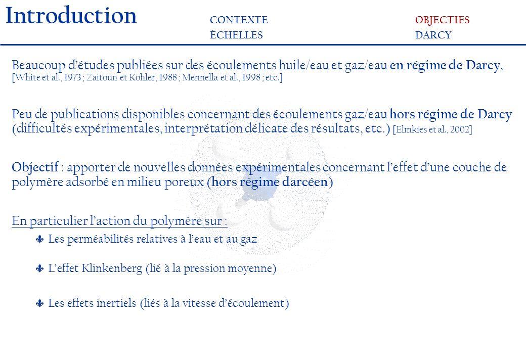 Protocole expérimental Injection de la solution aqueuse de polyacrylamide R M, R kw et PAM Co-injection de diazote (Q (p) 1 ) et de saumure (Q (p) w ) S w (Q (p) 1, Q (p) w ) et P(Q (p) 1, Q (p) w ) Interprétation des résultats à laide du modèle de Darcy - Forchheimer (p) (S w ) et k (p) g (S w ) Effets inertiels MISE EN EVIDENCEDISPOSITIFRESULTATS