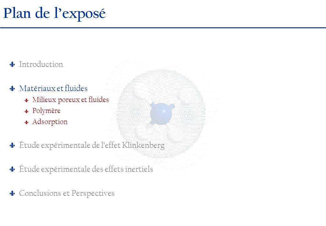 Dispositif expérimental Dimensions L = 10 cm D = 4 cm Effet Klinkenberg MISE EN EVIDENCEDISPOSITIFRESULTATS