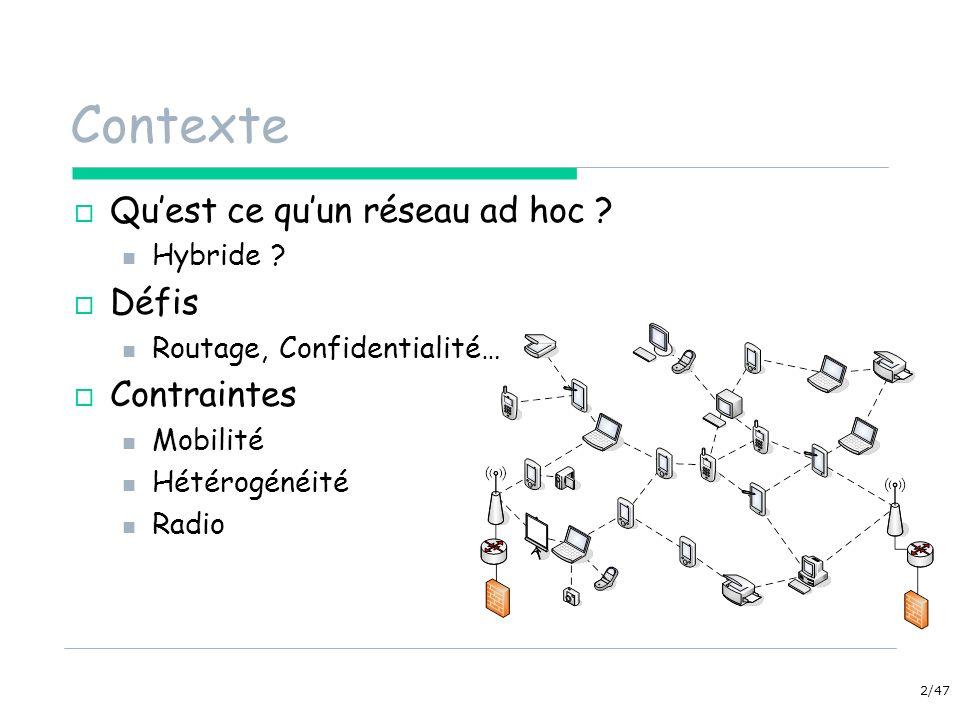 2/47 Contexte Quest ce quun réseau ad hoc ? Hybride ? Défis Routage, Confidentialité… Contraintes Mobilité Hétérogénéité Radio