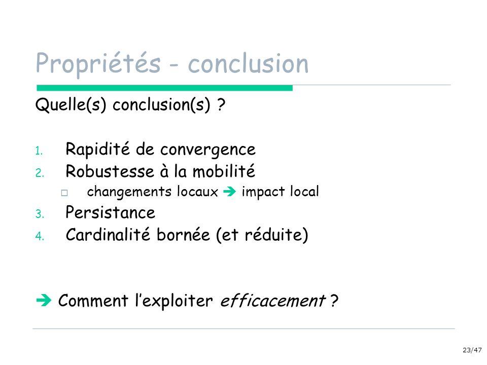 23/47 Propriétés - conclusion Quelle(s) conclusion(s) ? 1. Rapidité de convergence 2. Robustesse à la mobilité changements locaux impact local 3. Pers