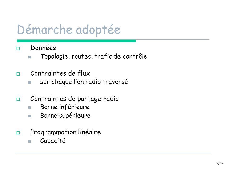 37/47 Démarche adoptée Données Topologie, routes, trafic de contrôle Contraintes de flux sur chaque lien radio traversé Contraintes de partage radio Borne inférieure Borne supérieure Programmation linéaire Capacité