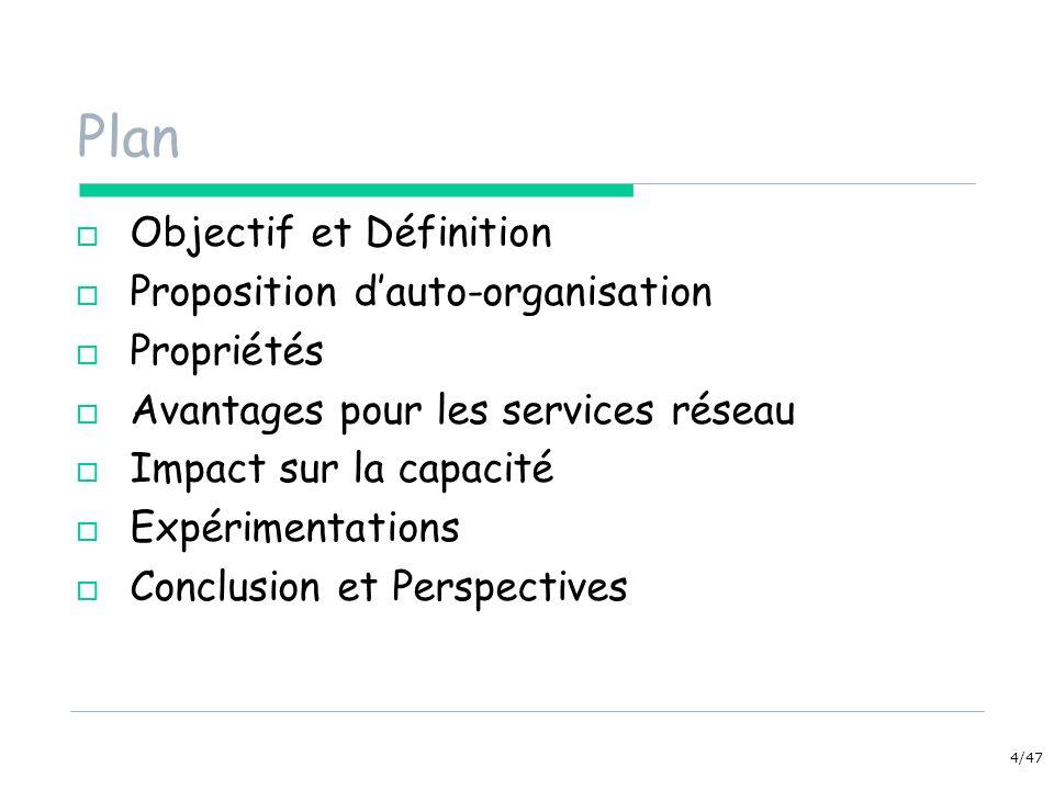 4/47 Plan Objectif et Définition Proposition dauto-organisation Propriétés Avantages pour les services réseau Impact sur la capacité Expérimentations Conclusion et Perspectives