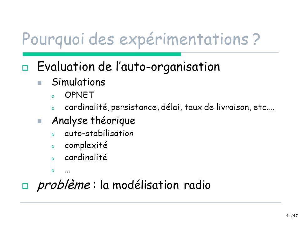 41/47 Pourquoi des expérimentations ? Evaluation de lauto-organisation Simulations o OPNET o cardinalité, persistance, délai, taux de livraison, etc.…