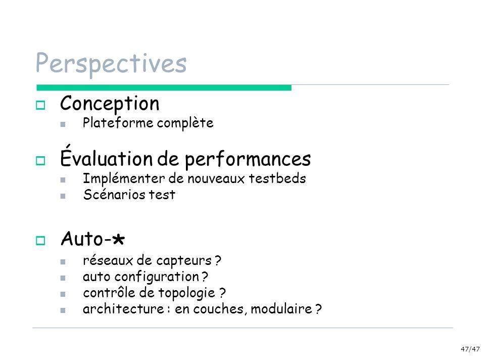 47/47 Perspectives Conception Plateforme complète Évaluation de performances Implémenter de nouveaux testbeds Scénarios test Auto- * réseaux de capteu