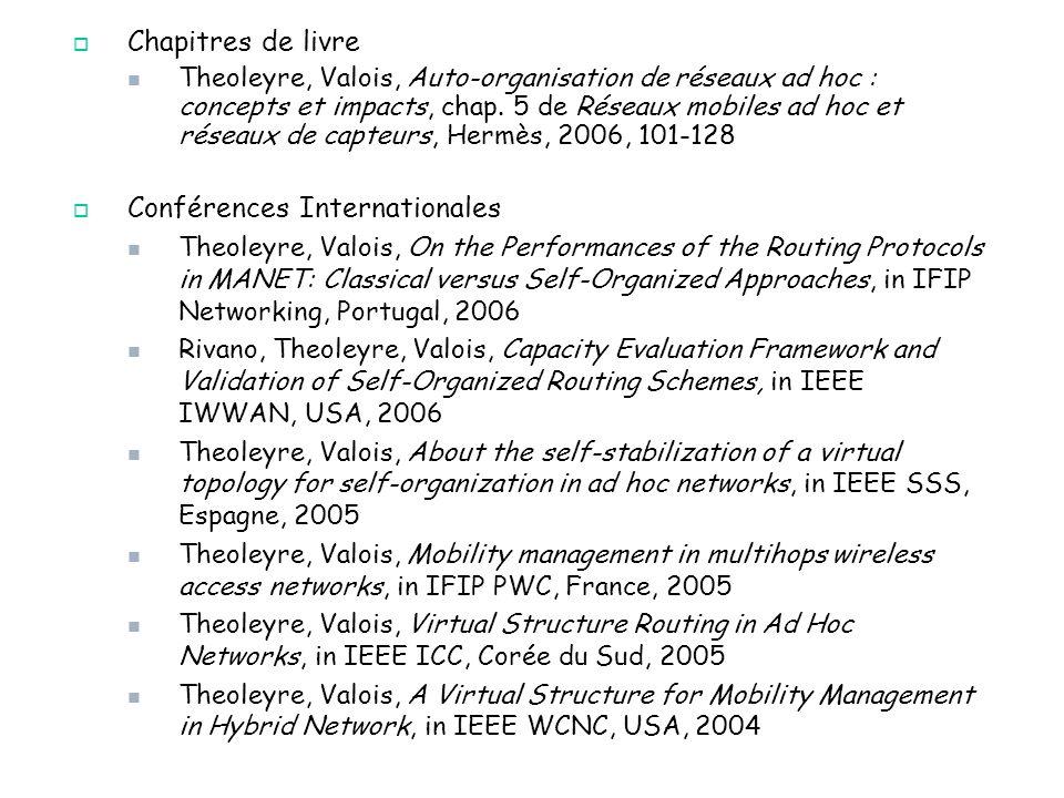 49/47 Chapitres de livre Theoleyre, Valois, Auto-organisation de réseaux ad hoc : concepts et impacts, chap. 5 de Réseaux mobiles ad hoc et réseaux de