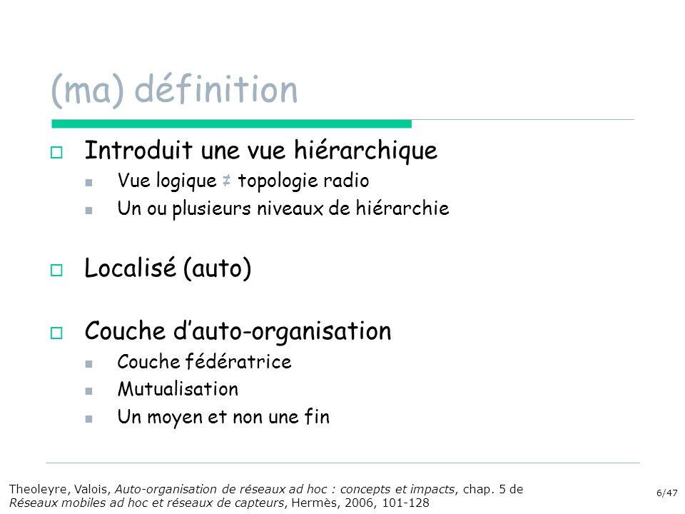 6/47 (ma) définition Introduit une vue hiérarchique Vue logique topologie radio Un ou plusieurs niveaux de hiérarchie Localisé (auto) Couche dauto-org
