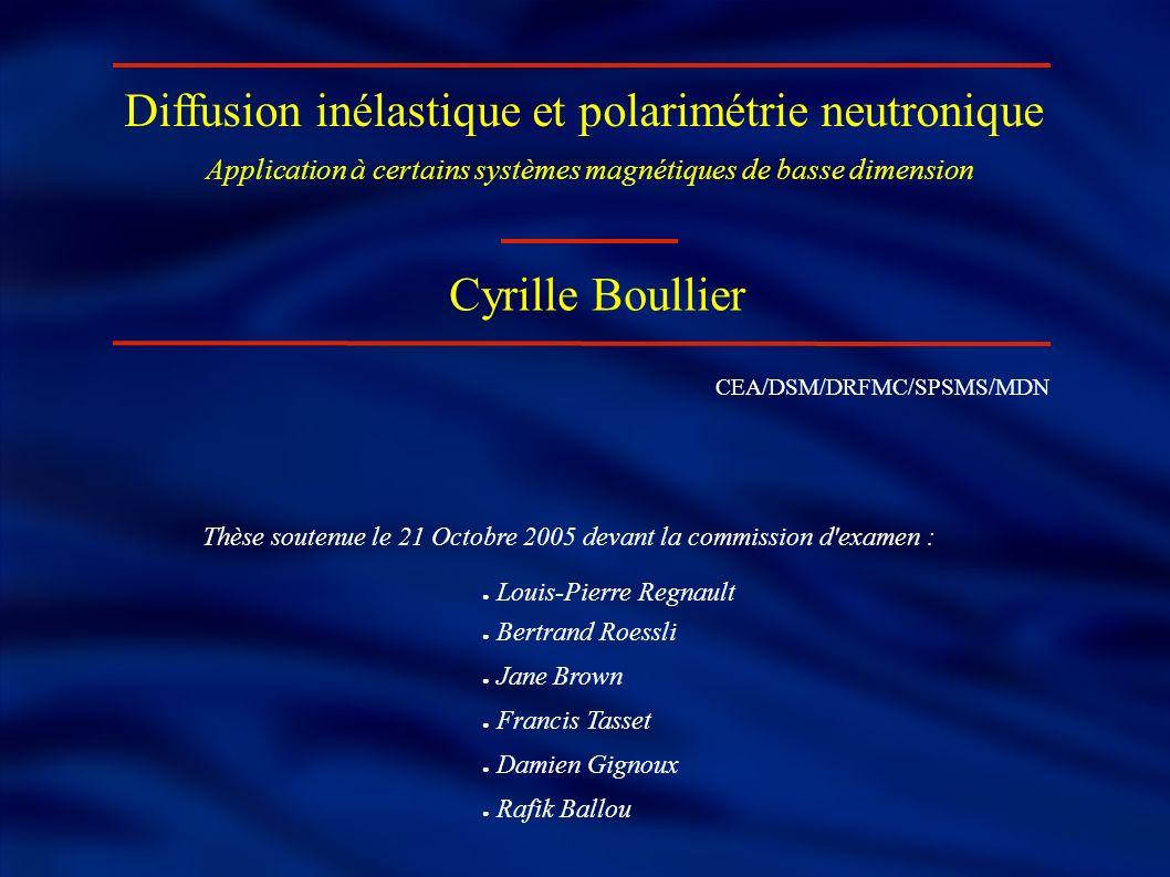 Diffusion inélastique et polarimétrie neutronique Cyrille Boullier Application à certains systèmes magnétiques de basse dimension CEA/DSM/DRFMC/SPSMS/