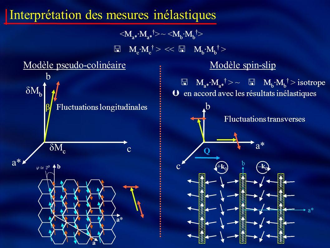 Interprétation des mesures inélastiques ~ Modèle pseudo-colinéaire δM b δM c a* b β Fluctuations longitudinales c Modèle spin-slip +k0+k0 –k0–k0 a* b
