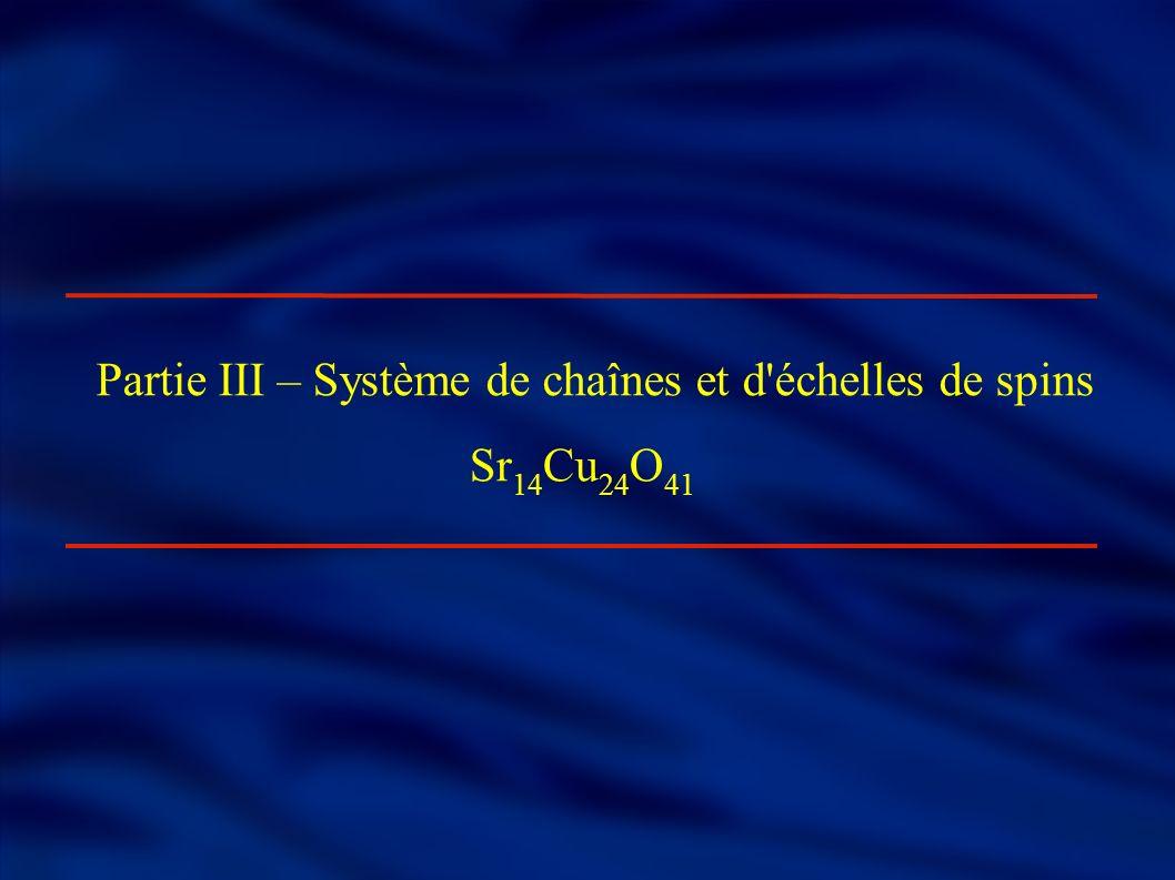 Partie III – Système de chaînes et d échelles de spins Sr 14 Cu 24 O 41