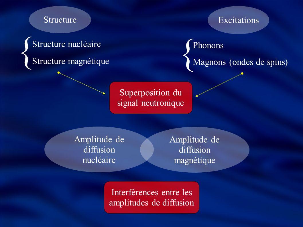 Énergie E i Vecteur d onde k i Polarisation incidente P 0 Faisceau incident Énergie E f Vecteur d onde k f Polarisation incidente P f Faisceau diffusé Transfert de moment: Q = ħ (k i – k f ) Transfert d énergie: ħω = E i - E f Rappels sur la diffusion neutronique