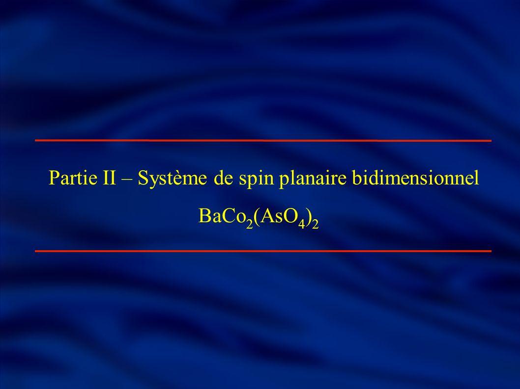 Composé BaCo 2 (AsO 4 ) 2 Ion magnétique Co 2+ (S=3/2) Plans d atomes de Cobalt magnétiques bien séparés les uns des autres selon l axe c: d intra 2.8Å d inter 7.8Å Système magnétique bidimensionnel Groupe d espace trigonale centro-symétrique.