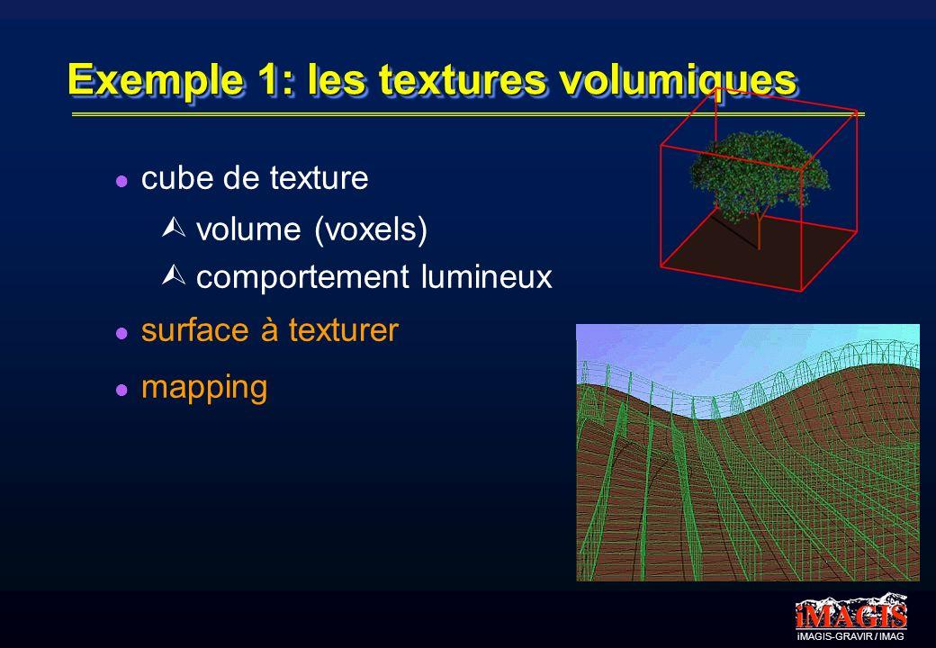 iMAGIS-GRAVIR / IMAG Exemple 1: les textures volumiques cube de texture Ù volume (voxels) Ù comportement lumineux surface à texturer mapping