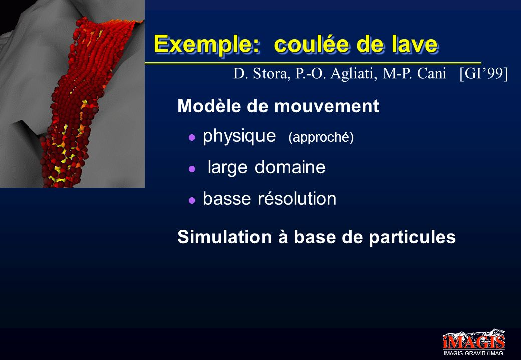 iMAGIS-GRAVIR / IMAG Exemple: coulée de lave Modèle de mouvement physique (approché) large domaine basse résolution Simulation à base de particules D.