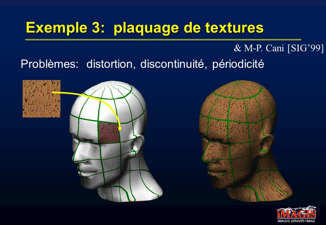 Exemple 3: plaquage de textures & M-P. Cani [SIG99] Problèmes: distortion, discontinuité, périodicité