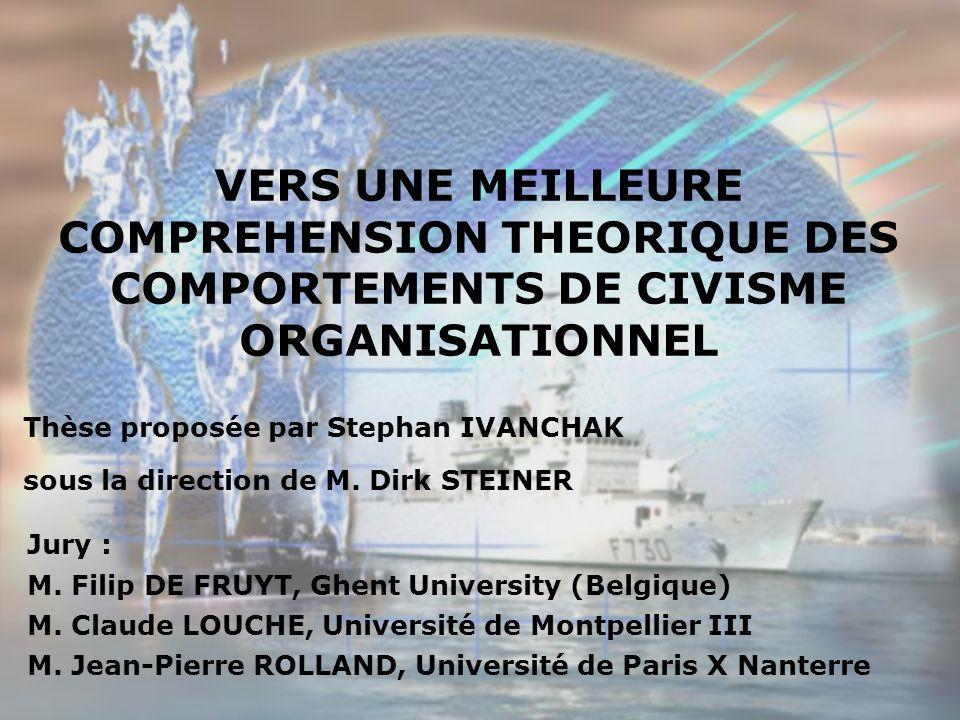 VERS UNE MEILLEURE COMPREHENSION THEORIQUE DES COMPORTEMENTS DE CIVISME ORGANISATIONNEL Thèse proposée par Stephan IVANCHAK sous la direction de M.
