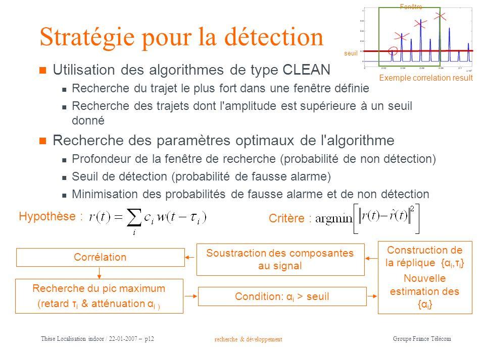 recherche & développement Groupe France Télécom Thèse Localisation indoor / 22-01-2007 – p12 Stratégie pour la détection Utilisation des algorithmes d