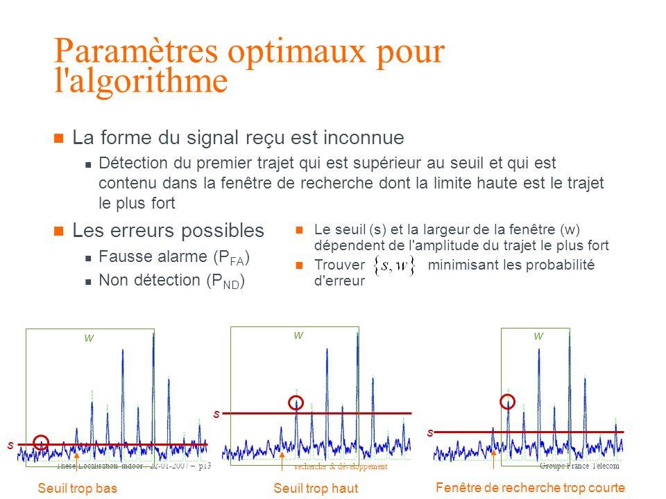 recherche & développement Groupe France Télécom Thèse Localisation indoor / 22-01-2007 – p13 Paramètres optimaux pour l'algorithme La forme du signal
