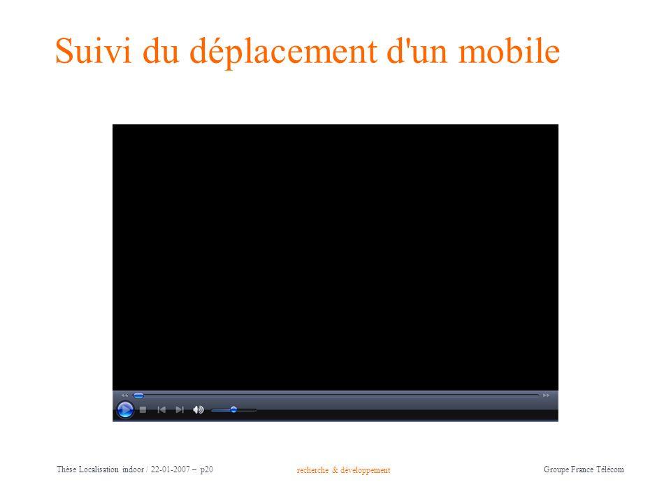 recherche & développement Groupe France Télécom Thèse Localisation indoor / 22-01-2007 – p20 Suivi du déplacement d'un mobile