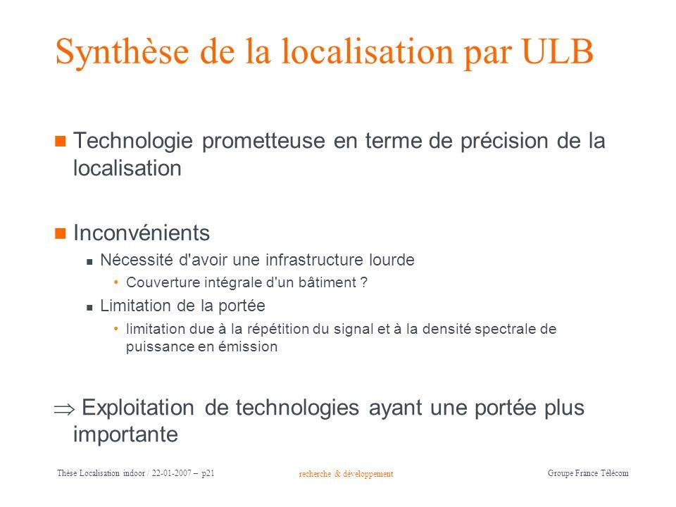 recherche & développement Groupe France Télécom Thèse Localisation indoor / 22-01-2007 – p21 Synthèse de la localisation par ULB Technologie prometteu