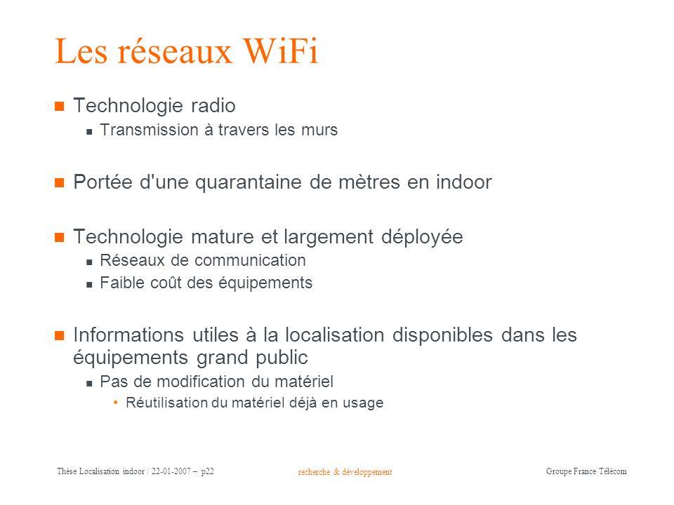 recherche & développement Groupe France Télécom Thèse Localisation indoor / 22-01-2007 – p22 Les réseaux WiFi Technologie radio Transmission à travers