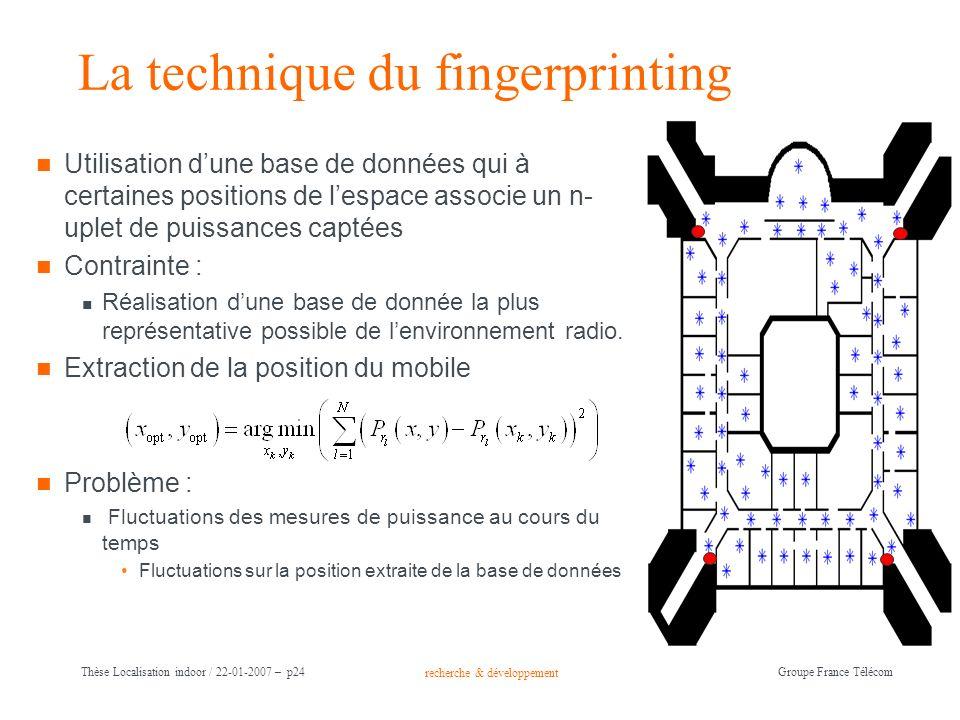 recherche & développement Groupe France Télécom Thèse Localisation indoor / 22-01-2007 – p24 La technique du fingerprinting Utilisation dune base de d