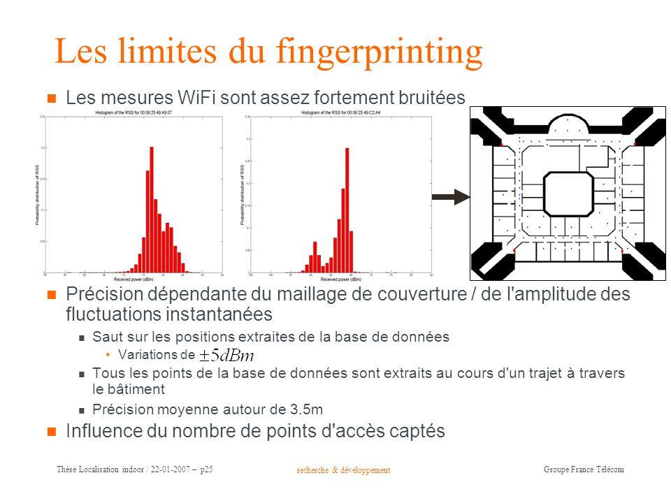 recherche & développement Groupe France Télécom Thèse Localisation indoor / 22-01-2007 – p25 Les limites du fingerprinting Les mesures WiFi sont assez