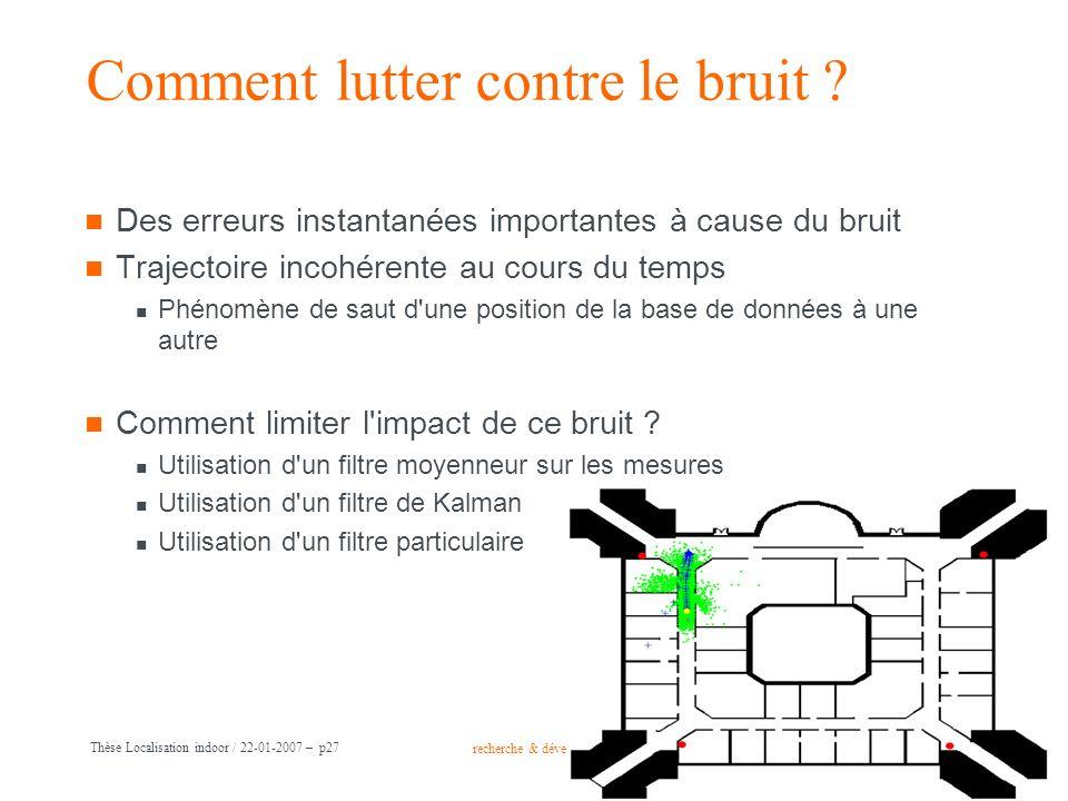 recherche & développement Groupe France Télécom Thèse Localisation indoor / 22-01-2007 – p27 Comment lutter contre le bruit ? Des erreurs instantanées