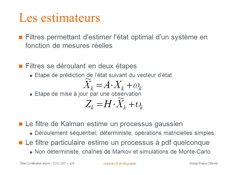 recherche & développement Groupe France Télécom Thèse Localisation indoor / 22-01-2007 – p28 Les estimateurs Filtres permettant d'estimer l'état optim