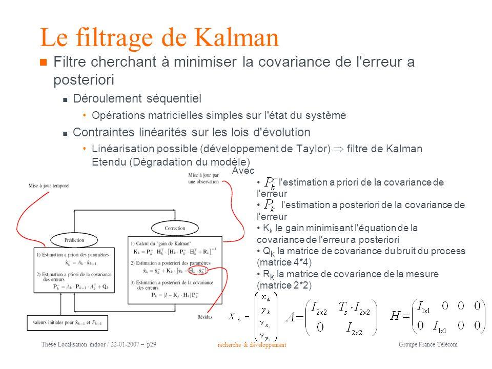 recherche & développement Groupe France Télécom Thèse Localisation indoor / 22-01-2007 – p29 Le filtrage de Kalman Filtre cherchant à minimiser la cov