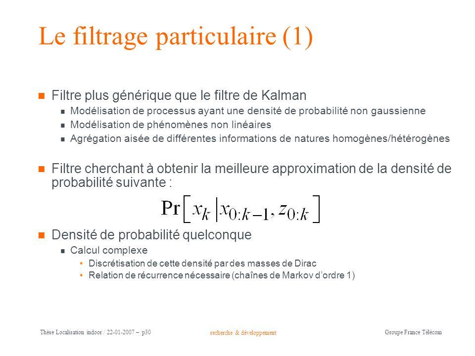 recherche & développement Groupe France Télécom Thèse Localisation indoor / 22-01-2007 – p30 Le filtrage particulaire (1) Filtre plus générique que le