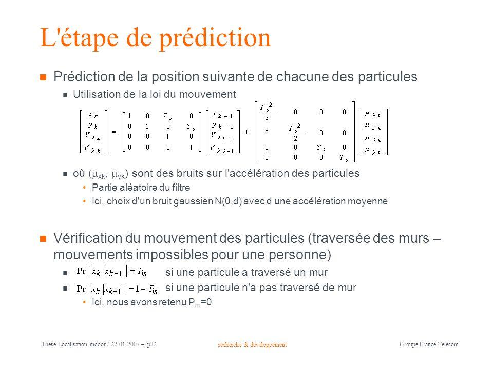 recherche & développement Groupe France Télécom Thèse Localisation indoor / 22-01-2007 – p32 L'étape de prédiction Prédiction de la position suivante