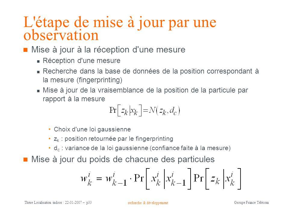 recherche & développement Groupe France Télécom Thèse Localisation indoor / 22-01-2007 – p33 L'étape de mise à jour par une observation Mise à jour à