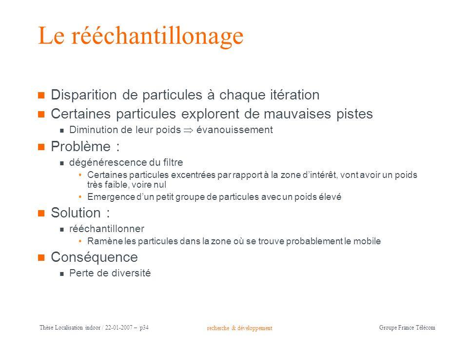 recherche & développement Groupe France Télécom Thèse Localisation indoor / 22-01-2007 – p34 Le rééchantillonage Disparition de particules à chaque it
