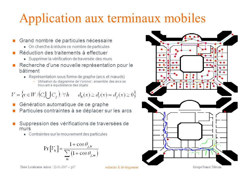 recherche & développement Groupe France Télécom Thèse Localisation indoor / 22-01-2007 – p37 Application aux terminaux mobiles Grand nombre de particu