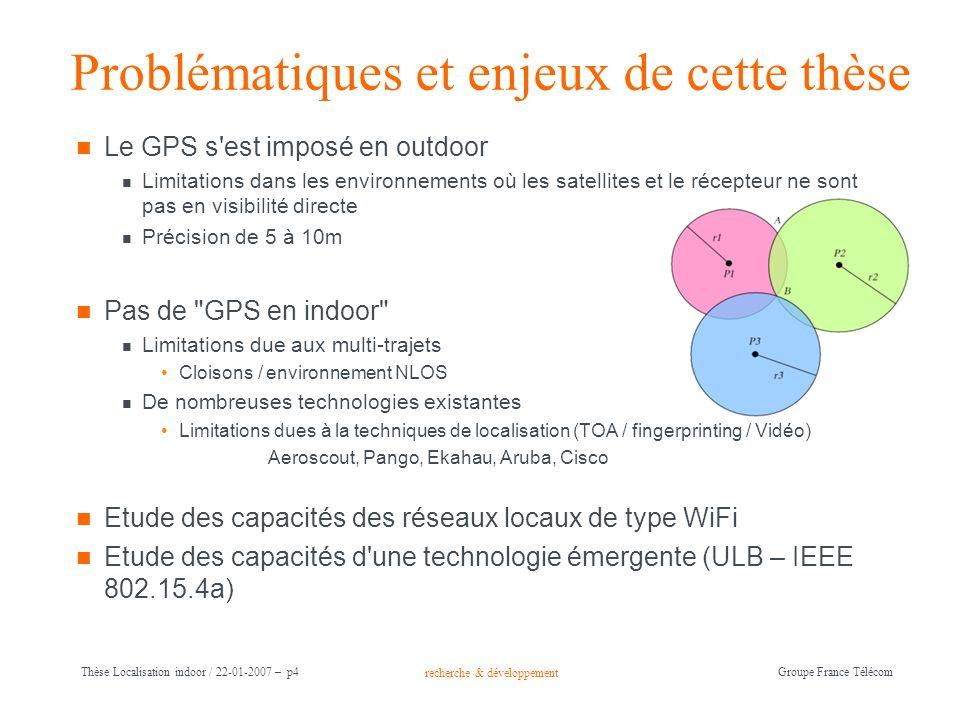 recherche & développement Groupe France Télécom Thèse Localisation indoor / 22-01-2007 – p4 Problématiques et enjeux de cette thèse Le GPS s'est impos