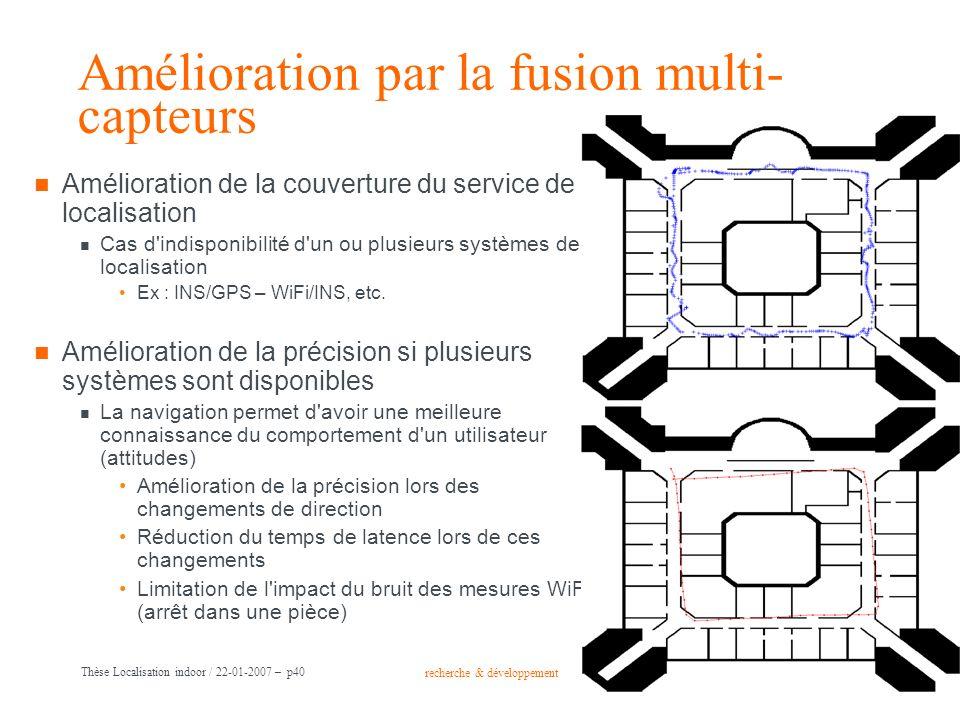 recherche & développement Groupe France Télécom Thèse Localisation indoor / 22-01-2007 – p40 Amélioration par la fusion multi- capteurs Amélioration d