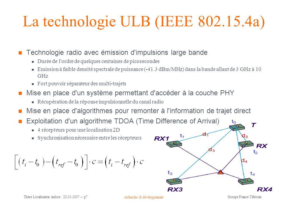 recherche & développement Groupe France Télécom Thèse Localisation indoor / 22-01-2007 – p7 La technologie ULB (IEEE 802.15.4a) Technologie radio avec