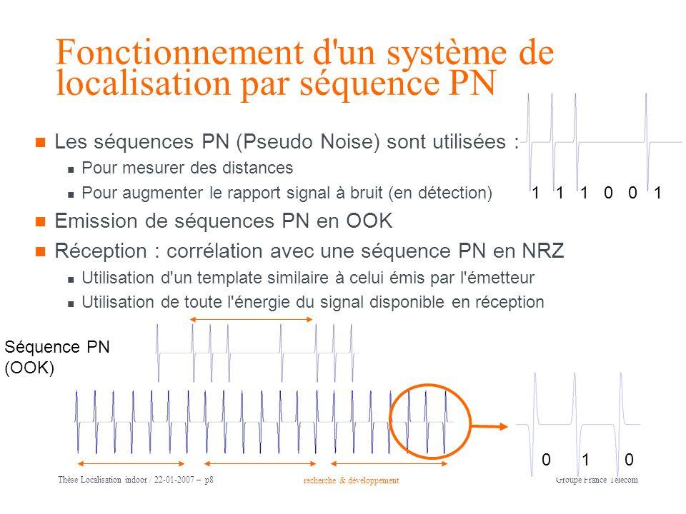 recherche & développement Groupe France Télécom Thèse Localisation indoor / 22-01-2007 – p8 Fonctionnement d'un système de localisation par séquence P