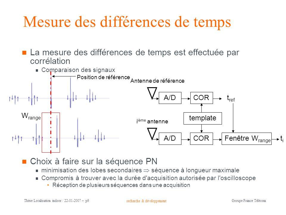 recherche & développement Groupe France Télécom Thèse Localisation indoor / 22-01-2007 – p9 Mesure des différences de temps La mesure des différences